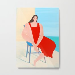 Summer Red Dress Metal Print