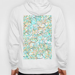 grid in yellow and blue and petals Hoody