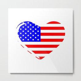 Stars and Stripes Heart Metal Print