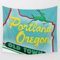 portland Wall Tapestries featuring Portland by Casey Baggz