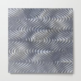 Metallic silver wave background pattern Metal Print