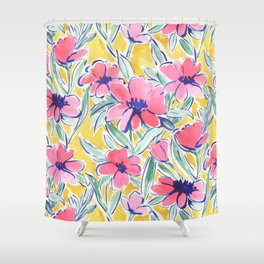 Painterly Watercolor Floral Pink Shower Curtain