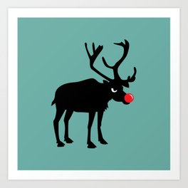 Angry Animals: Rudolph the red nosed Reindeer Art Print