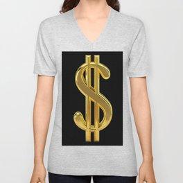 Gold Dollar Sign Black Background Unisex V-Neck
