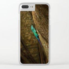 Turquoise Bermuda Lizard Clear iPhone Case