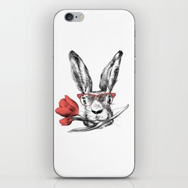 Easter Bunny Rabbit in Glasses Cool Funny Gift iPhone Skin