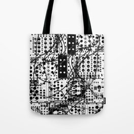 analog synthesizer system - modular black and white Tote Bag