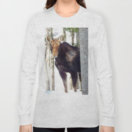 Molting Moose in Spring Long Sleeve T-shirt