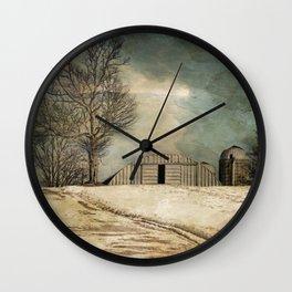 Winter Farmlands Wall Clock
