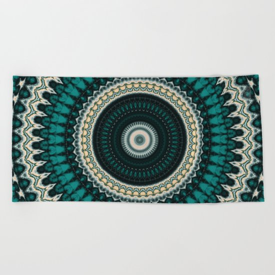 Mandala Fractal in Teal Study 01 Beach Towel