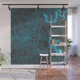 Nashville map blue Wall Mural