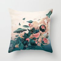 cock Throw Pillows featuring Watermelon&Black cock by Tanya_tk