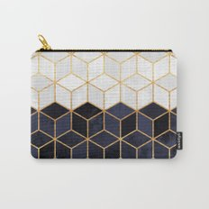 White & Navy Cubes Carry-All Pouch
