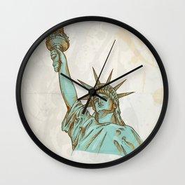 statue of liberty hand dawn Wall Clock