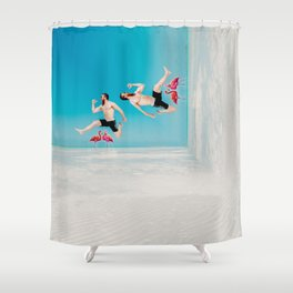 jumping over flamingoes Shower Curtain