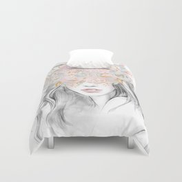 She Wore Flowers in Her Hair Rose Gold by Nature Magick Duvet Cover