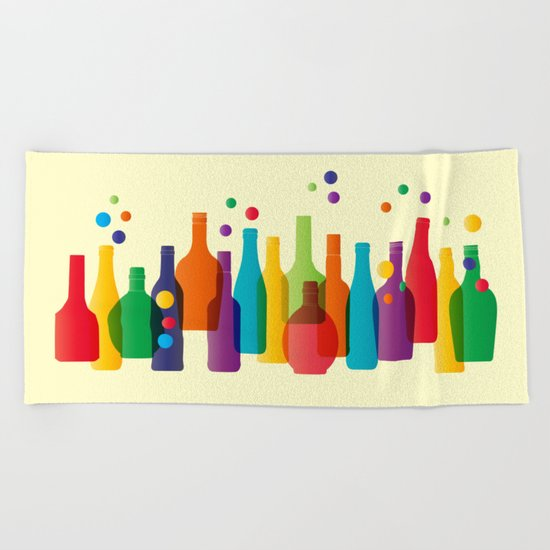 Colored bottles Beach Towel