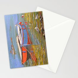 Blue And Orange Boats At The Harbor Stationery Cards