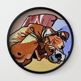 Abby Rests Boxer Dog Portrait Wall Clock