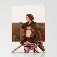 attack on titan Stationery Cards featuring Haikyuu!! Attack on Titan Crossover: Captain Asahi by JBadgr