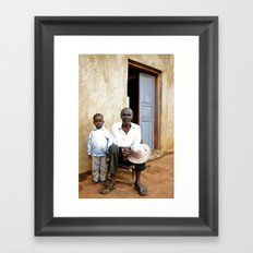 Grandfather and grandson Framed Art Print