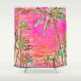 Retro Hawaiian Beach, Mauna Lani Pink Shower Curtain