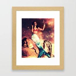 Vintage Mermaid Sparkle Framed Art Print