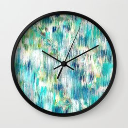 Green Abstract Painting. Beautiful Greens and Blues. Intriguing and Unique. Wall Clock