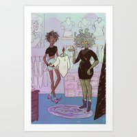 shopping Art Prints featuring Shopping by BrinyGhoul