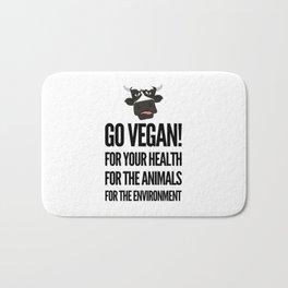 Go vegan! veganism food gift idea Bath Mat