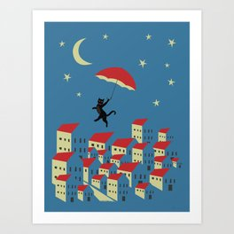 Upton The Cat And His Evening Adventures Art Print