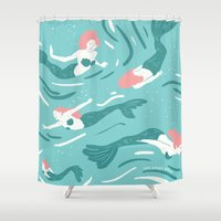 mermaids Shower Curtains featuring Mermaids by JESS SMART SMILEY
