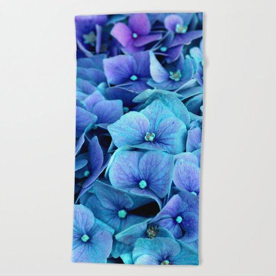 Purple Blue hydrangea Beach Towel