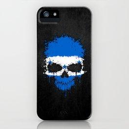 Flag of Honduras on a Chaotic Splatter Skull iPhone Case