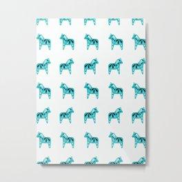 Dala Horse Pattern - Aqua on White Metal Print