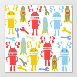 Robots pattern F4 Canvas Print