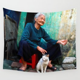 Vietnamese Woman with White Cat Wall Tapestry