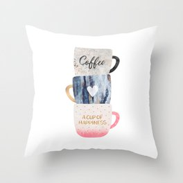A cup of happiness Throw Pillow