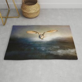 An owl flies over the lake Rug