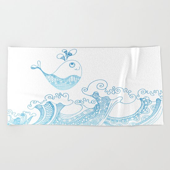Doodle fish jumping out of the water- Maritime Sea Animal Beach Towel