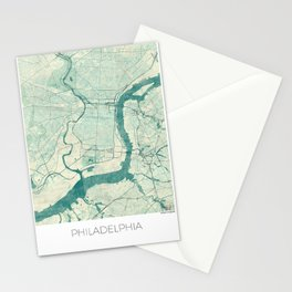 Philadelphia Map Blue Vintage Stationery Cards