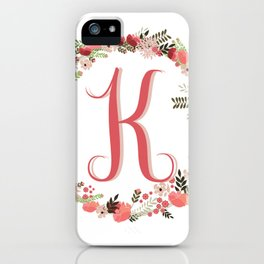 Personal monogram letter 'K' flower wreath iPhone Case