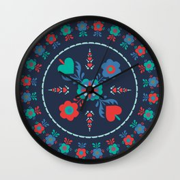 Folk Flowers with Red Border Wall Clock