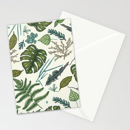 Green leaves pattern Stationery Cards