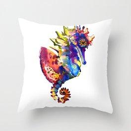 Rainbow Seahorse, seahorse art design Throw Pillow