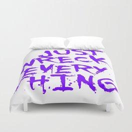 Just Wreck Everything Violet Blue Grunge Graffiti Duvet Cover