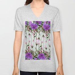Modern lavender purple pastel green floral stripes Unisex V-Neck