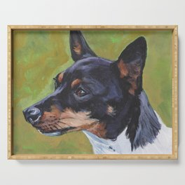 TOY FOX TERRIER dog art portrait from an original painting by L.A.Shepard Serving Tray