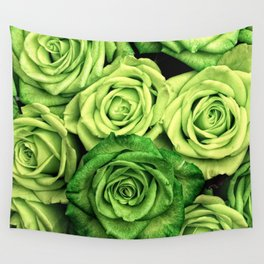 Green Roses Wall Tapestry