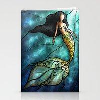 mandie manzano Stationery Cards featuring The Mermaid by Mandie Manzano